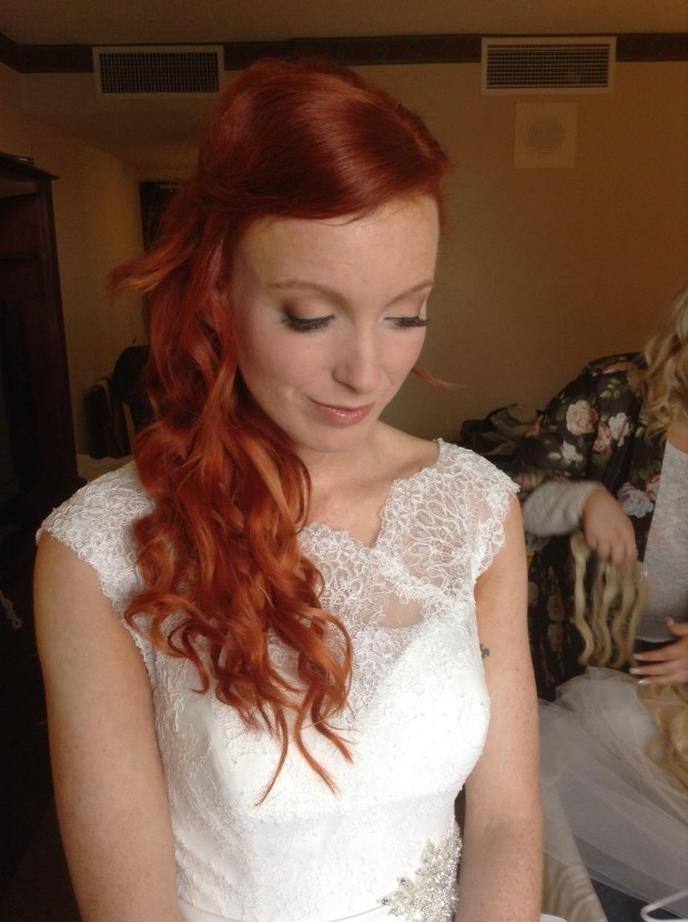 Red Hair Wedding day makeup